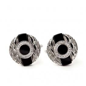 18k White Gold Black Onyx and Diamond Cufflinks